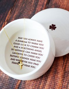Baptism Gift, First Communion Gift, Confirmation Gift, Godchild Gift - SHIPS FAST - Round Keepsake Box w/ Cross Necklace, Irish Blessing by Susabella Godchild Gift, Goddaughter Gifts, Godparent Gifts, Nana Gifts, Baptism Party, Baby Baptism, Christening Gifts, First Communion Gifts, First Holy Communion
