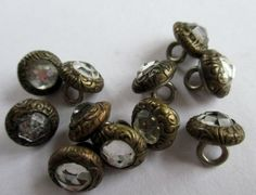 SET OF TINY VINTAGE JEWELLED METAL BUTTONS GLASS STONES 11 pcs. 8 mm. noelhumphrey on eBay.co.uk