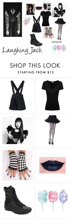 """""""Laughing Jack"""" by stayawayfromsquidgytheoutcast ❤ liked on Polyvore featuring Comme des Garçons, James Perse, Leg Avenue, Converse, Cotton Candy, LaughingJack and creppypasta"""