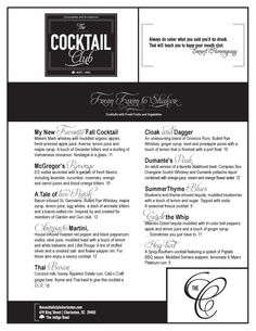 Art of the Menu: The Cocktail Club