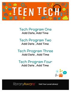 """Hosting multiple tech programs? LibraryAware users- you'll love using this flyer to promote them! Search flyers for """"tech."""""""
