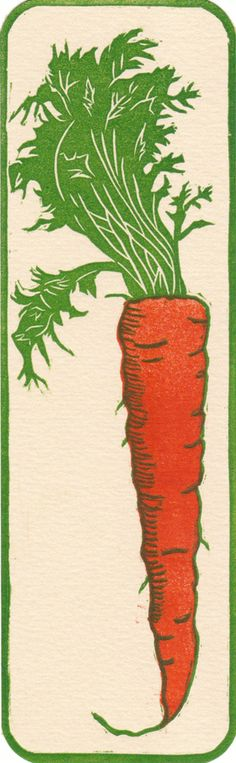 Carrot Bookmark by Hannah Skoonberg www.skoonberg.com. Tags: Linocut, Cut, Print, Linoleum, Lino, Carving, Block, Woodcut, Helen Elstone, Graphic Image, Carrot, Vegetable.