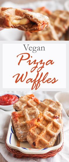 Pizza Waffles - wholemeal pizza dough stuffed with vegan cheese and pizza sauce, cooked in a waffle iron