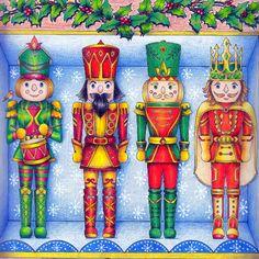 Take a peek at this great artwork on Johanna Basford's Colouring Gallery! Christmas Scenes, Christmas Books, Vintage Christmas, Christmas Crafts, Christmas Artwork, Xmas, Decoupage, Creative Haven Coloring Books, Joanna Basford