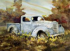 Old Truck Painting by Sam Sidders - Old Truck Fine Art Prints and Posters for Sale