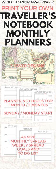 DIY Travelers Notebook Printable Planner - Printables and Inspirations Planner Pages, Printable Planner, Monthly Planner, College Planner, Printable Calendars, College Tips, Happy Planner, Free Printables, Monthly Spread
