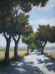 Tree Alley in Provence by Olli Malmivaara, Soft pastel painting on sanded paper 32 x 24 cm