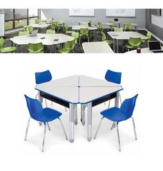 Step inside this 21st Century Classroom featuring Wing Desks from Smith System! Create tight clusters of 4, or a daisy chain pattern to create a large community table- with individual space for each student.