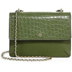 Tory Burch Robinson Convertible Croc-Embossed Leather Crossbody Bag ($495) ❤…