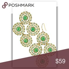"""🏵COMING SOON🏵 Stella & Dot Garden Party Earrings 🏵COMING SOON🏵 Stella & Dot Garden Party Chandelier Earrings. gold plated medallions dotted with just the right touch of color. As seen on Oscar-winning Actress Marlee Matlin! 2 1/4"""" drop length. Lead & nickel safe. Stella & Dot Jewelry Earrings"""