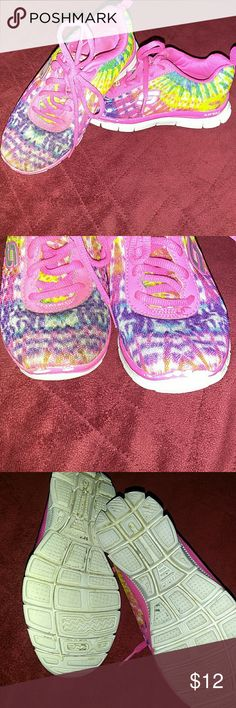Skechers Little girls skechers size 13.  Still has tons of life life!  Only issue is the tad bit of pink missing from the toe.  Never even noticed. Perfect for any outfit sense these are so very colorful Skechers Shoes Sneakers