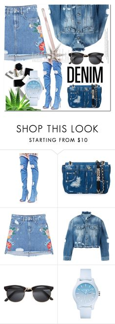 """""""Distressed Denim"""" by ilona-828 ❤ liked on Polyvore featuring Cape Robbin, Moschino, MANGO, County Of Milan, H&M, Alöe, Lacoste, StreetStyle, distresseddenim and polyvoreeditorial"""