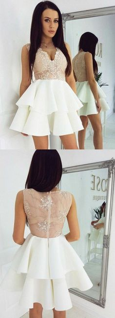 v neck homecoming dresses, short homecoming dresses, ivory homecoming dresses