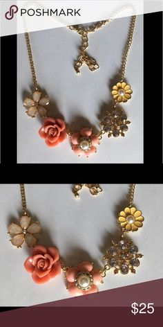 Multicolored Necklace with pearl & rhinestones... Multicolored Necklace with pearl & rhinestones with extender... Jewelry Necklaces
