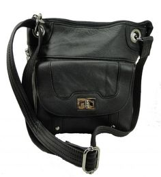 Concealed Carry Cross Body Leather Gun Purse with Locking Zipper Black  #RomaLeathers #MessengerCrossBody