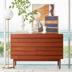 Louvered 6-Drawer Dresser - Walnut