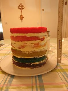 This is the inside of the rainbow cake - it was very tall. I used 4 dowels for support.