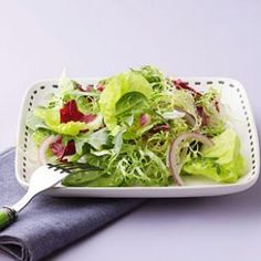 Simple Green Salad with Citronette  Frisée and radicchio are both assertive, slightly bitter greens that add color and texture to any salad.   @eatingwell #spring