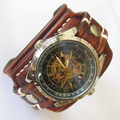 Leather Watch-Brown Leather Watch-Men Watch-Leather Watch band-Leather Cuff Watch-Leather Wrist Watch