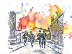 The Beatles Art Watercolor Painting  Original by idillard on Etsy, $40.00