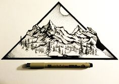 October 25 2015 Day 544 Print Derek Myers: Daily by DerekMyersArt Image Tatoo, Art Sketches, Art Drawings, Karten Diy, Grafiti, Mountain Tattoo, Mountain Drawing, Illustration, Daily Drawing