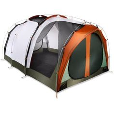 This REI Kingdom 8 Tent looks roomier enough for two adults and 2 dogs. I like the separate screened porch area!