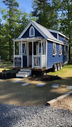 """Tiny House Tour of """"Clara"""" Tiny Home on Wheels! Walkthrough video tour of the """"Clara"""" tiny house on wheels built from a Tumbleweed plan and currently for rent in South Hampton, New Hampshire. Tiny House Village, Tiny House Cabin, Tiny House Living, Tiny House Plans, Tiny House On Wheels, Living Room, House To Home, Wooden House Plans, Tiny Guest House"""