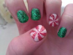 Christmas nails #green #peppermint #redandwhite DIY NAIL ART DESIGNS #NAILS #NAILART #NAILPOLISH