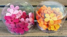 Filzblüten 24 Stück, Streuartikel, Streu, Deko ca. 3 cm Ø, Blumen, Blüten, Filz Peach, Candy, Ebay, Felting, Deko, Sweet, Toffee, Sweets, Peaches