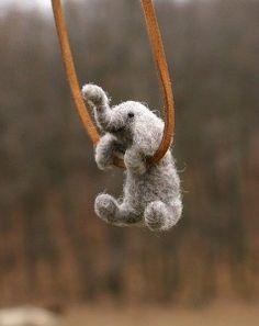 Tiny felted elephant! I am so making this!