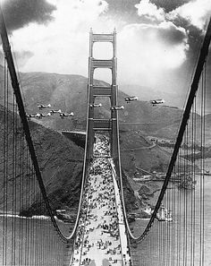 """historicaltimes: """"On May the newly completed Golden Gate Bridge connecting San Francisco and Marin County, California, was opened to pedestrian traffic . """" by San Francisco Feelings Ponte Golden Gate, Golden Gate Bridge, Old Photos, Vintage Photos, Rare Photos, Ville New York, Rare Historical Photos, All Nature, Vintage Photography"""