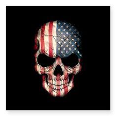 CafePress American Flag Skull Sticker