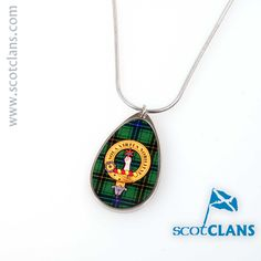 Henderson Clan Crest Teardrop Pendant. Free Worldwide Shipping Available