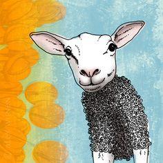 8x10 illustration print Springtime lamb in sweater by AlexWijnen