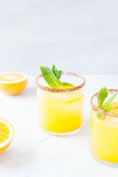 Sunshine Citrus Kombucha Margaritas | Healthy cocktail recipe. Gluten-free, paleo, vegan.