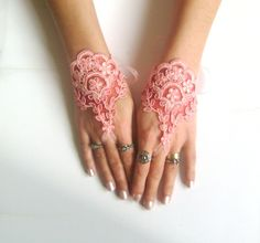 Coral red Wedding gloves bridal gloves fingerless by GlovesByJana Pink Gloves, Lace Gloves, Wedding Gloves, Crochet Gloves, Modest Wedding Dresses, Hat Pins, French Lace, Red Wedding, Cuff Bracelets