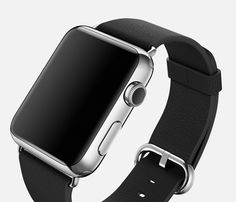 Apple Watch in stainless steel and classic leather buckle.