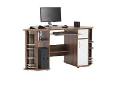 French Walnut Effect Com6r Comouter Wo*entE  •1 Stationery drawer in white •Storage cupboard in white •CPU storage •CD/DVD storage •Storage area •Keyboard shelf •Printer shelf Flat packed for easy home assembly. All measurements are in (cm) Width 146 Depth 80 Height 76   €139.99