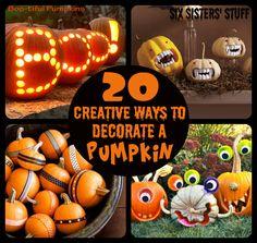Six Sisters' Stuff: 20 Creative Ways to Decorate Pumpkins #halloween