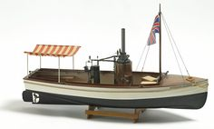 The Billing Boats African Queen wooden ship model measures long, high and wide. This wooden boat kit is highly realistic with many fine details. Wooden Boat Kits, Wooden Boat Building, Humphrey Bogart, African Queen, Rc Boot, Steam Boats, Build Your Own Boat, Naval, Wood Boats