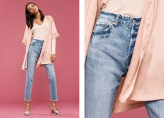 H&M Satin Kimono, Rib-Knit Sweater, Vintage High Cropped Jeans and Open-Sided Pumps
