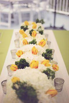 hydrangea and tulip floral runner, photo by Stephie Hicks http://ruffledblog.com/the-notwedding-savannah #weddingideas #tablerunner
