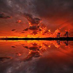 Fire Sunset to Saint-Raphael, Var ~ France ~ by Yannick Lefevre