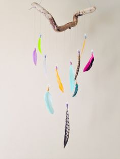 Beautiful, boho feather and driftwood mobile by Inspired Soul on Storeenvy. This stunning piece is one of a kind! Looks amazing in any bedroom or room