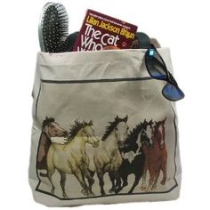 """Steppin Out"" Southwestern Wild Horse Decor Canvas Tote Bag Purse (Apparel) http://www.amazon.com/dp/B000NYQKQQ/?tag=mnnean-20 B000NYQKQQ"