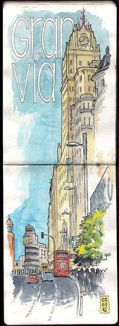 Gran Via V | Joaquin Gonzalez Dorao | Flickr Easy Watercolor, Watercolor Sketch, Art Books For Kids, Street Pictures, Madrid Travel, Travel Sketchbook, Sketch Inspiration, Urban Sketching, Drawing Sketches