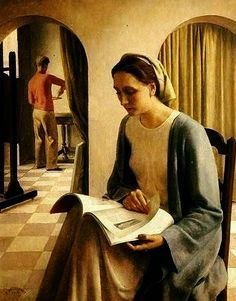Louis Buisseret (1888-1956, Belgian) Contemplation 1938