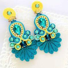 Black Earrings, Statement Earrings, Drop Earrings, Fashion Jewelry, Women Jewelry, Soutache Earrings, Wedding Earrings, Jewelry Supplies, Handmade Necklaces