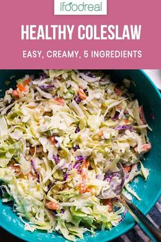 Coleslaw Recipe with Greek yogurt dressing and store bought coleslaw for convenience. Creamy, easy and delicious healthy coleslaw recipe with no mayo. Enjoy your BBQ! Healthy Coleslaw Dressing, Healthy Coleslaw Recipes, Coleslaw Recipe Easy, Easy Healthy Recipes, Easy Meals, Coleslaw Recipe Greek Yogurt, Greek Coleslaw, Paleo Coleslaw, Homemade Coleslaw