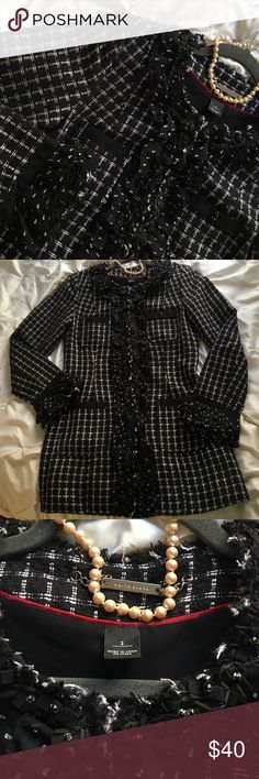 WHBM Boucle long coat/blazer Many cute details, fitted and hits below the hips. Hook closure from collar to bottom of coat. Gently used. It has been stored so you may wish to dry clean or not. It's in good shape. Non smoking home. White House Black Market Jackets & Coats Blazers